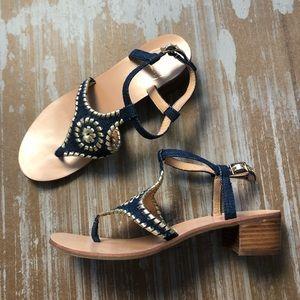Jack Rogers Elsie Navy Denim Sandals Sz 8.5
